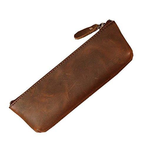 xiduobao handgefertigt Retro echtes Leder Bleistift Tasche Vintage Soft echt Leder Bleistift Stift Fall Tasche Halter Tasche, Bleistift Fällen.