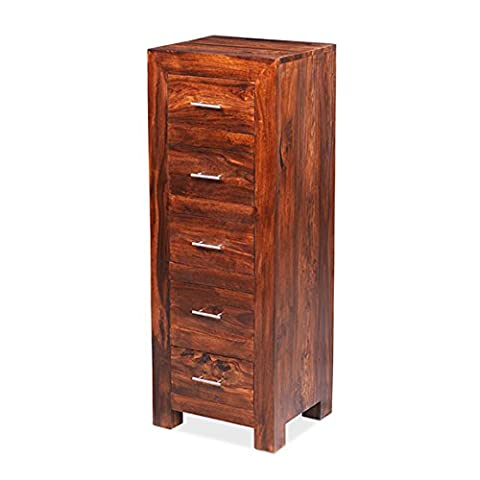 Cuba Sheesham Cuba Solid Sheesham Chunky Wood Tallboy Wellington Chest Of Drawers , Honey Brown, H 124 x W 50 x D 43 cm