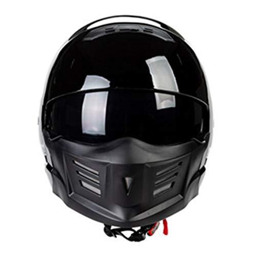 XRQ Grimace Samurai Casco Moto Casco Integrale Casco, Casco Staccabile, Adatto per Circonferenza cranica (55-62 cm) Uomini e Donne Adulti,Black2,L