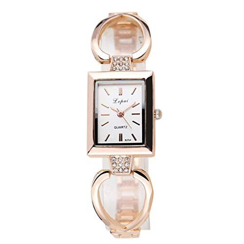 Kakiyi Quadrat-Frauen-Mädchen-Uhrenarmband Quarz-Strass-Dekor Alu-Uhren Armbanduhr-Geschenk Shaped