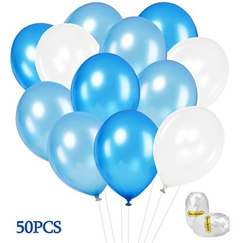u Weiss, 50 Stück 12 Zoll Latex Ballons Blau Weiss für Party Geburtstags Deko Junge, Geburtstag Dekorationen, Taufe Junge, Weihnachten, Baby Shower, Hochzeit ()