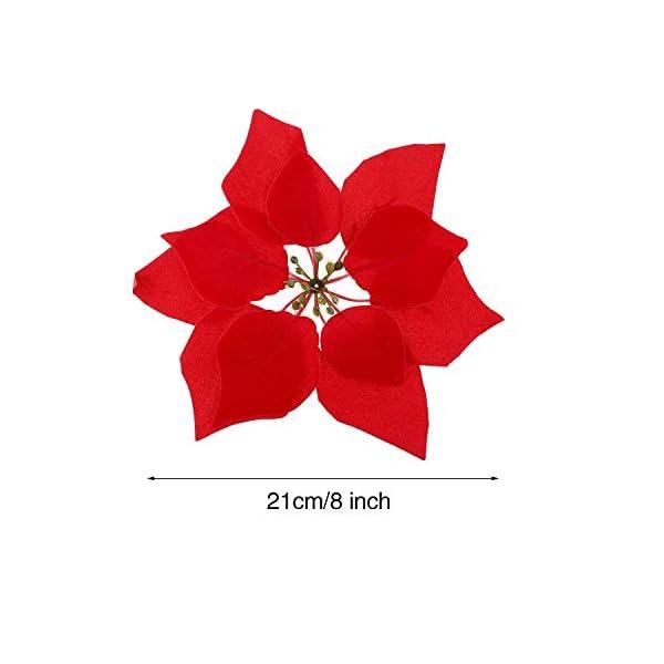 WEKNOWU – Juego de 12 flores artificiales de Navidad para decoración de árbol de Navidad de seda realista con cabeza de…