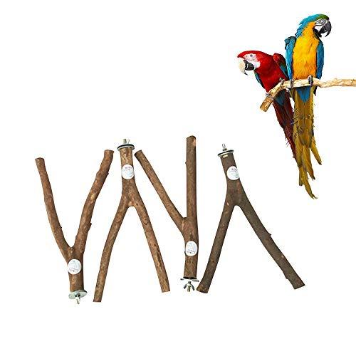 UMIWE Madera natural de pájaro y perca para pinzón canario periquito y pinzón de cóctel loro pequeño (20 cm) 4 piezas