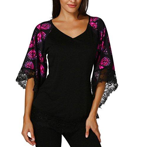 Damen Sommer V-Ausschnitt Schmetterlings 1 2 Arm Spitzenbluse Oberteile  DOLDOA Frauen Tops Blusen Pullover Blusentop T-Shirt Geburtstags Geschenk  (EU 46, ... 4774d1f2d7