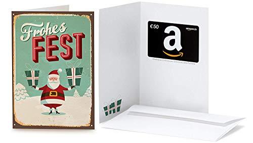 Amazon.de Geschenkkarte in Grußkarte - 50 EUR (Retro Weihnachtsmann)