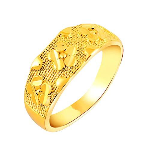 Purmy donne anello placcato oro fede nuziale 24k placcato oro stampa modello design oro dimensione 15