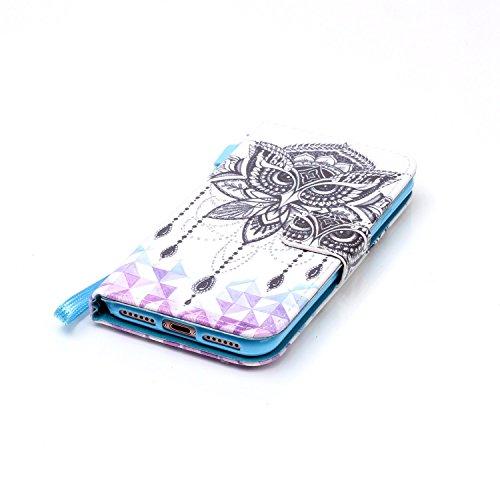 CaseHome iPhone 7 4.7'' PU Leder Hülle Mode der eleganten Fall Schön Geprägte Muster Gedruckt Entwurf (Mit freiem HD Schirm-Schutz) Tadellos gepasst für iPhone 7 4.7'' PU Leder Hülle Magnetischer Flip Schwarze Eule