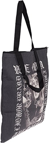 Liquor Brand Liquor Brand We Own The Night Oldschool Vampire Girl Shopping Bag / Tasche, Borsa tote donna Nero/Beige