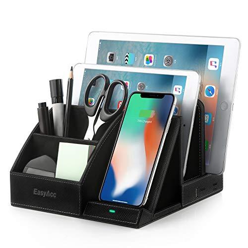 EasyAcc Wireless Charger Induktionsladegeräte Kabelloses Ladegerät Tisch Organizer Ständer USB Anschluss Ladegerät Ladestation für X XS MAX XR 8 Plus, S10e S9 S8, Huawei P30 Pro