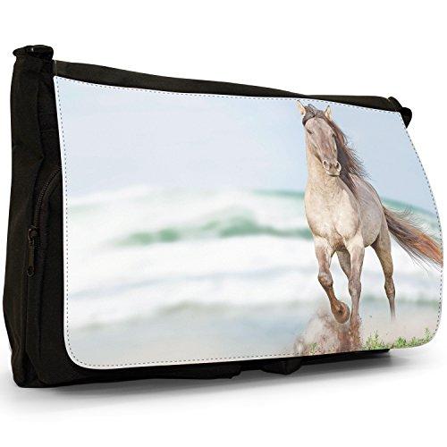 Superb bellissimo cavallo stallone, colore: bianco, misura grande, colore: nero, Borsa Messenger-Borsa a tracolla in tela, borsa per Laptop, scuola Nero (Elegant White Horse Trotting)