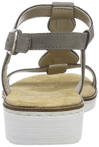 Rieker Damen 63684 Offene Sandalen mit Keilabsatz Grau (cement / 41)