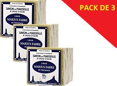 Marius Fabre - SAVON DE MARSEILLE - l'Huile d'Olive Cube de 600 Gr - Lot de 3 Cubes 600 Gr
