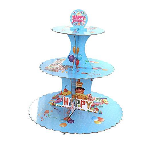 msyou 3Etagen Cupcake-Ständer rund gestapelt Kuchen Muffin Display Lebensmittel Ständer aus Karton für Hochzeiten Geburtstag Halloween Weihnachten Party (weiß), Pappe, blau, 34,5 cm (Etage 3 Halloween)