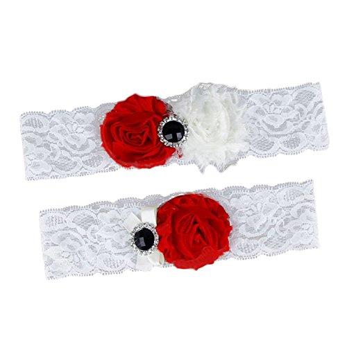 Jungen giarrettiera brides giarrettiere da sposa cintura nastro con decorazione floreale matrimonio vestito accessori (rosso)