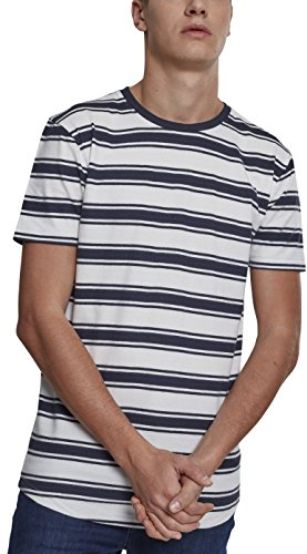 Urban Classics Herren T-Shirt Double Stripe Long Shaped Tee, Mehrfarbig (Off White/Navy 01385), Medium (Herstellergröße: M) (Double Stripe Shirt)