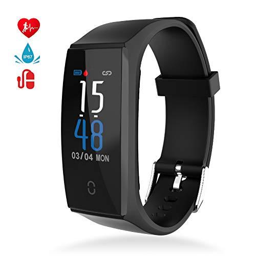 MINLUK Fitness Armband mit Pulsmesser Blutdruckmessung Fitness Tracker Wasserdicht IP67 Aktivitätstracker Schrittzähler Kalorienzähler Bluetooth Pulsuhren Schlafmonitor Stoppuhr Countdown MEHRWEG