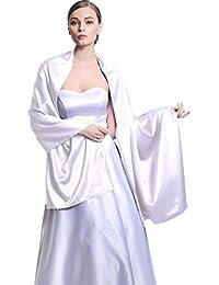 Las mujeres de novia fiesta noche/boda satén chal Wrap 25colores S02