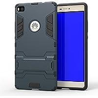 2 in 1 Funda Carcasa para Huawei Ascend G7 Plus Fenrad® Hybrid TPU + PC Rugged Armor Kickstand Doble Fuerza Capa Resistente Delgado Hard Shell Caso Back Cover Case+Stylus--Azul Negro