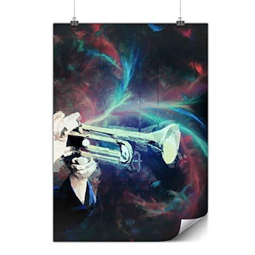 Wellcoda Trompete Klingen Plakat Musik A0 (119cm x 84cm) Glänzend schweres Papier, Ideal für die Gestaltung, Einfach zu hängen Kunst