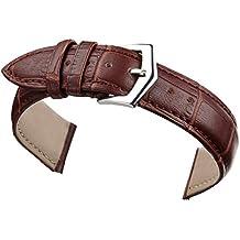 18 mm orologio in pelle marrone sostituzione banda cinturino in alligatore imbottito grana classica fibbia ad ardiglione