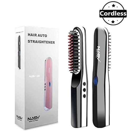 Beard Straightener Brush Suntee Hair Straightening Brush with Cordless/Anti Scald/Auto Shut Off/Mini Sized for Travel/Home 2 in 1 Multifunctional Hair Comb Curling Iron for Men Women (Iron Travel Curling Hair)