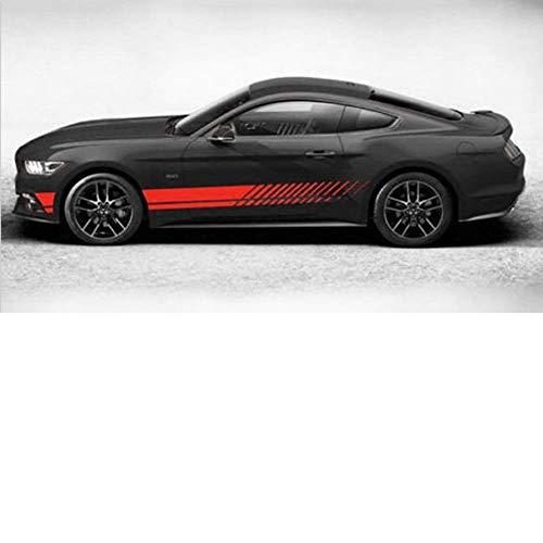 Wide.ling Auto Aufkleber Seiten Streifen Rennstreifen Viperstreifen Rallyestreifen Sportliche Optik Schwarz (rot, OneSize)