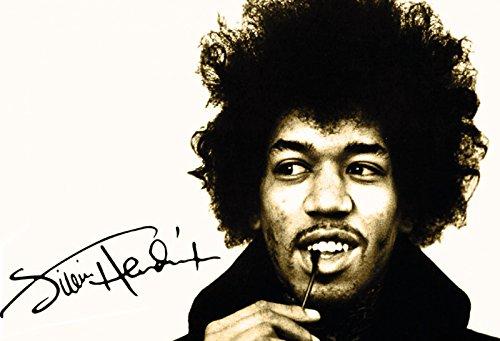 Jimi Hendrix schwarz weiß mit signatur musiker schild aus blech, metal sign, deko schild (Hendrix Jimi Farben)