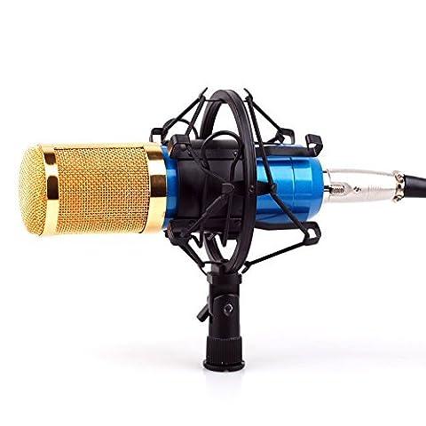 CISNO Pro Studio Condenser Microphone Speech Recording Dynamic Mic BM800 W/Shock Mount-Blue