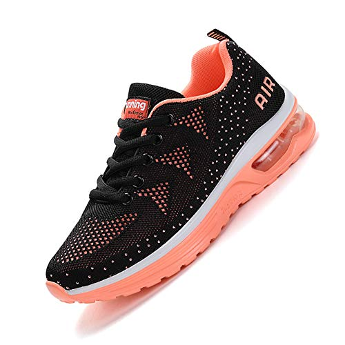 smarten Unisex Uomo Donna Scarpe da Ginnastica Corsa Sportive Fitness Running Sneakers Basse Interior Outdoor Casual all'Aperto Shoes -Molti Colori Black Orange 37 EU