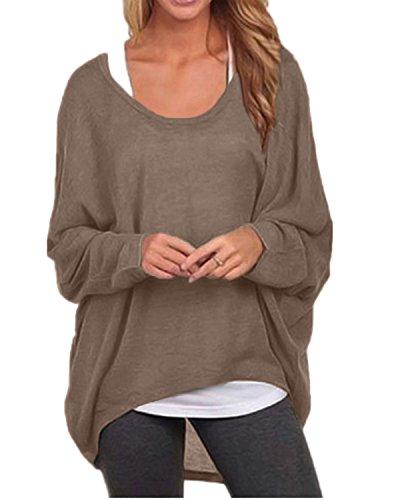 ZANZEA Sexy Women Loose Solid Irregular Long Sleeve Baggy Jumper Casual Tops Blouse T-Shirt Brown 2XL
