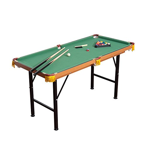 HOMCOM 4FT 6IN Green Mini Billiards Pool Table Kids Indoor Toy Sports Game  With Balls And