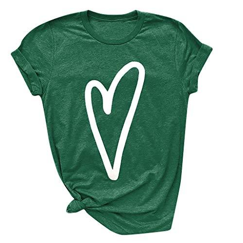 Love Slogan Print Kurzarm T-Shirt O-Neck Tops Slouch Weiche Bluse(L(40),Grün-Liebe) ()