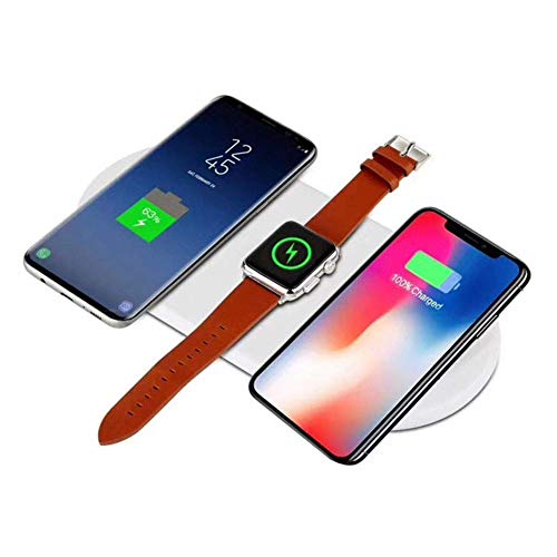 Stazione di Ricarica Wireless 3 in 1 per Apple Watch Wireless a induzione, Qi Wireless Caricatore rapido per iPhone X/iPhone 8/8Plus/Samsung Galaxy/Nota Samsung 10 W