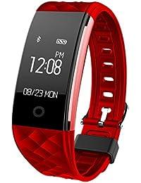 """Seguimiento de las actividades de fitness Fitness Bluetooth inteligente de correa de reloj inteligente de Samsung Android a prueba de agua """"smartphones 0,96 iPhone también como Huawei, LG, Sony (Rojo)"""