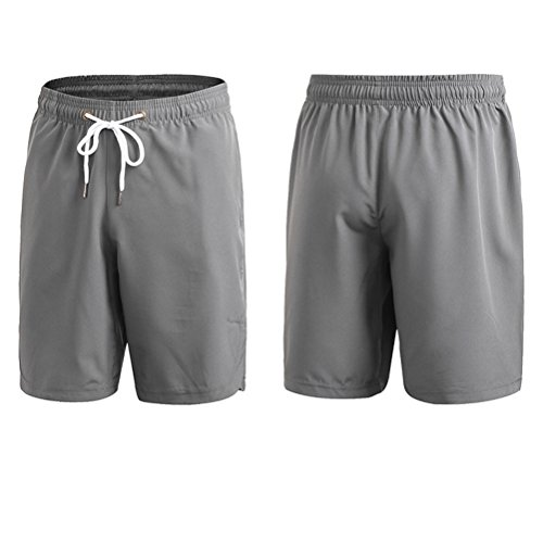 Zhhlaixing Men's Cotton Fitness Gym Retro Casual Loose Quick-drying Pants Shorts 7054 Gray