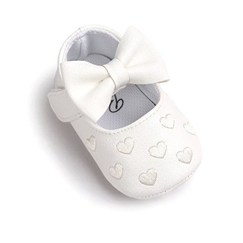 Auxma Baby schuhe mädchen Bowknot-lederner Schuh-Turnschuh Anti-Rutsch weiches Solekleinkind für 0-18 Monate (12(6-12M), Weiß) (Weiße Leder Bow)