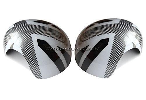 Weiß Manuelle Auswahl (Chromiumtech Tür Spiegelabdeckungen (R55/R56/R57/R58/R59/R60/R61) - Auswahl von Farben & Stile - für manuelle Klappbar spiegel - Kariert Weiß Union Jack)