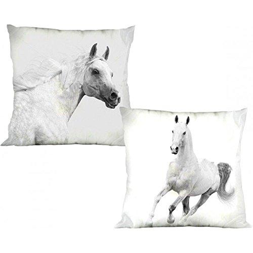 Unbekannt Pferde - Kissenbezug- 40x40 cm- Weiß