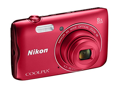 Nikon Coolpix A300 Fotocamera Digitale Compatta, 20.1 MP, Zoom Wide 8x, VR, Filmati HD, Bluetooth, Wi-Fi, Rosso [Nital Card: 4 Anni di Garanzia]