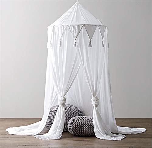 Baby Chiffon Baldachin, Tyhbelle kinder Bett Kuppel Chiffon Betthimmel Moskitonetz Spiel Zelt Gut für Baby Ankleidezimmer Innen im Freienspiel Lese Schlafzimmer(Chiffon Baldachin-Weiß)