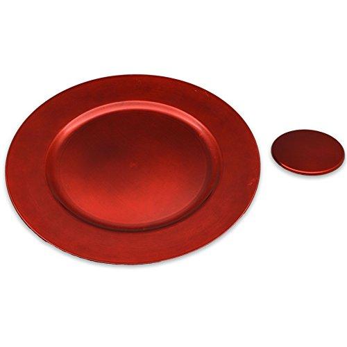 Argon Tableware Assiettes de présentation Rondes et sous-Verres en Rouge