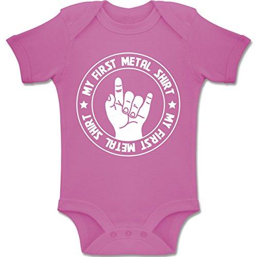 Strampler Motive - My First Metal Shirt - 3/6 Monate - Pink - BZ10 - Baby Body Kurzarm für Jungen und Mädchen