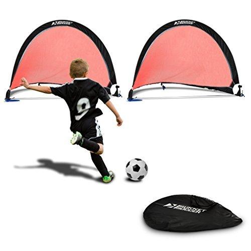 rukket Pop Up Fußballtor-Zwei Portable Fußball Netze mit Tragetasche und Verankerung (2-Pack), rot, schwarz -