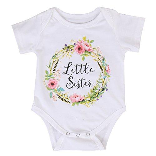 Baby Mädchen Kleine Schwester und Große Schwester Weiß Kleidung Overall Outfits Tops T Shirts (90/6-12 Monate, Little Sister) (Mädchen Große Kleidung)