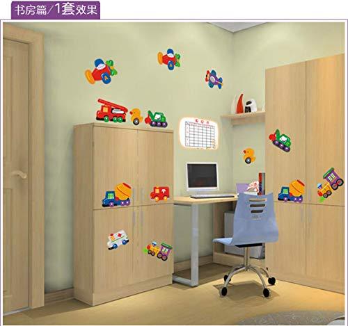 Verkehrs auto curriculum kinderzimmer kindergarten schlafzimmer dekoration drei generationen entfernbarer wandaufkleber 90 * 85cm * 2 stück