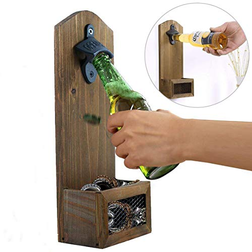 ASEOK Flaschenöffner zur Wandmontage, mit Kappenfänger, Vintage-Holz-Flaschenöffner für Bar, Küche, Wohnung, Terrasse -