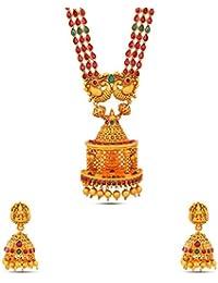 Kalyani Covering Gold Brass Kundan Long Necklace Set For Women & Girls. - B078TDBL7J