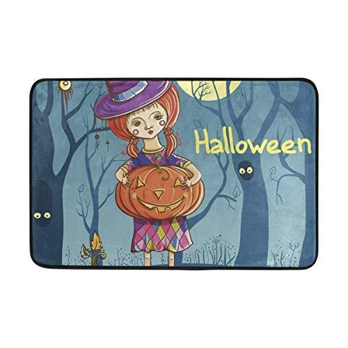 dfegyfr Fußabtreter Halloween Girl Witch Outdoor Mats, Non Slip Door Mat for Entrance Way Front Door Inside Outside 23.6