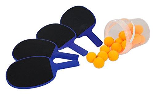 Preisvergleich Produktbild TISCHTENNISSCHLÄGER Outdoor 4er Set blau mit Balleimer