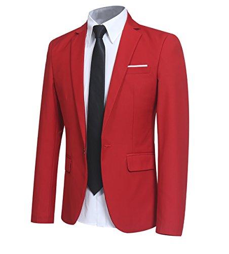 Costume homme veston blazer veste de costume blazer homme - Rouge - Medium